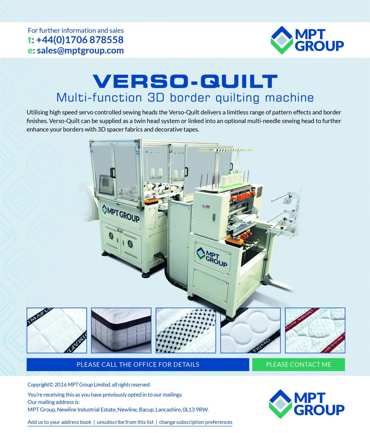 New Verso Quilt Multi-Function 3D border quilting machine